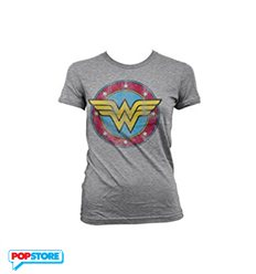 DC Comics T-Shirt - Wonder Woman Distressed Logo Girly Tee M