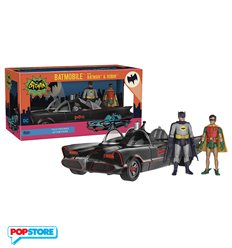 Dc Heroes - 1966 Batmobile - Batmobile With Batman & Robin Action Figure 28cm